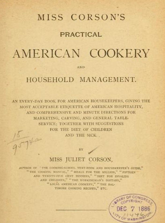 1886 Title Page miss carsons practical american cookery