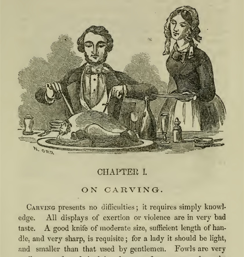 Victorian man and woman carving turkey