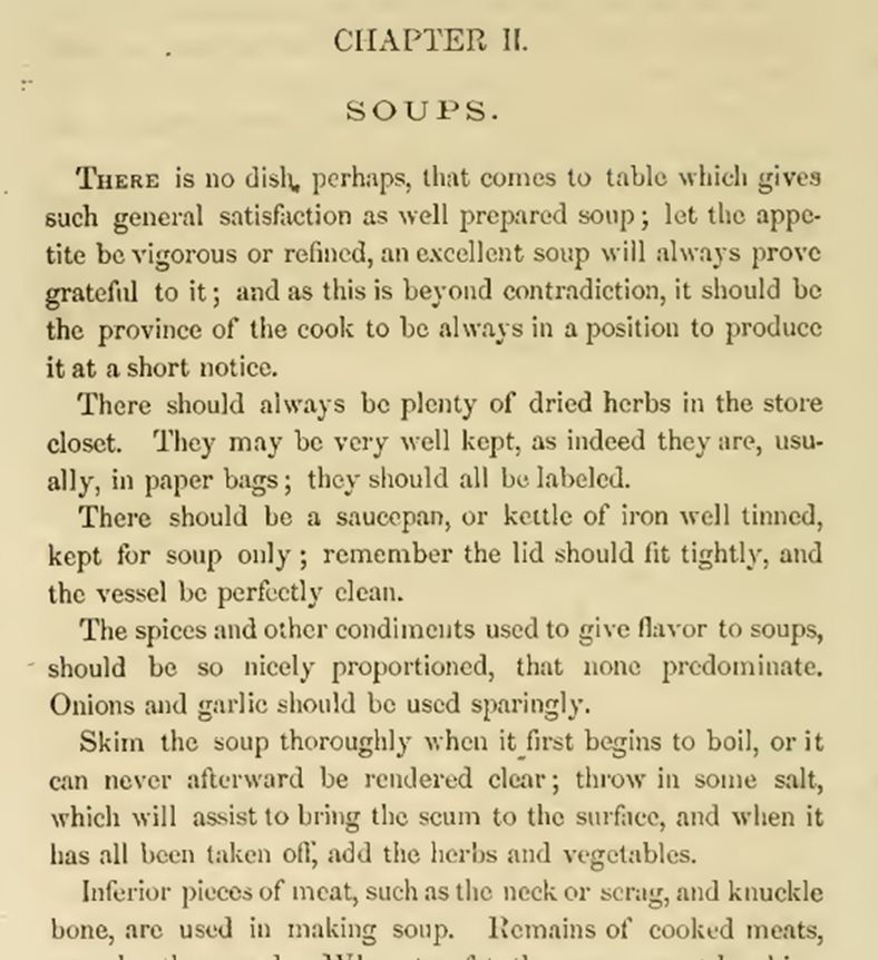Introduction to soup - american cookery hall 1856