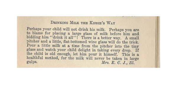 Drinking milk recipe-1920s