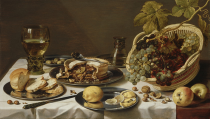 claesz_pieter_-_tabletop_still_life_with_mince_pie_and_basket_of_grapes_-_1625