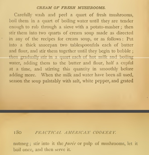 Recipe cream of mushroom-corson 1886
