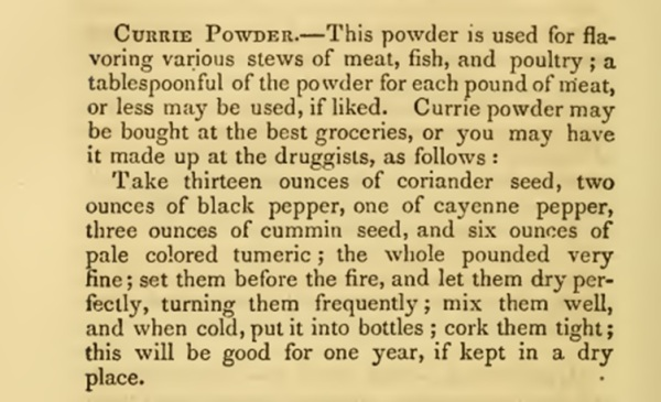 Curry powder recipe 1860s
