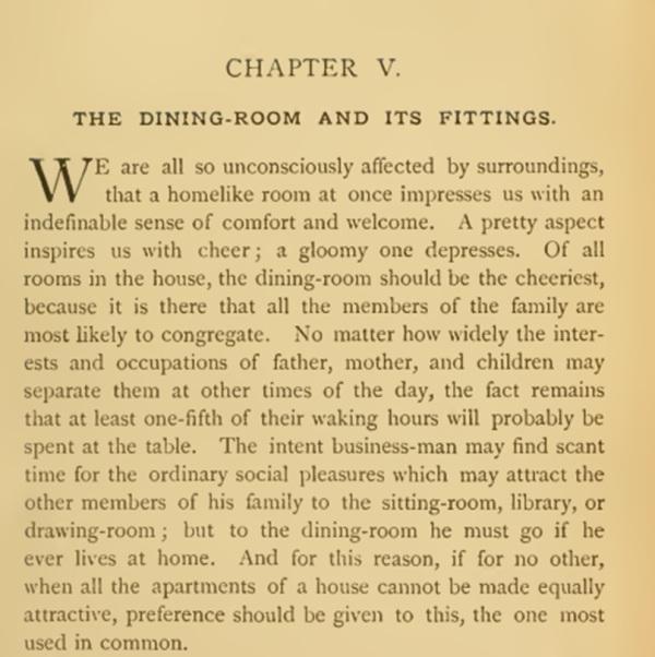 Description Victorian Dining Room 1880s
