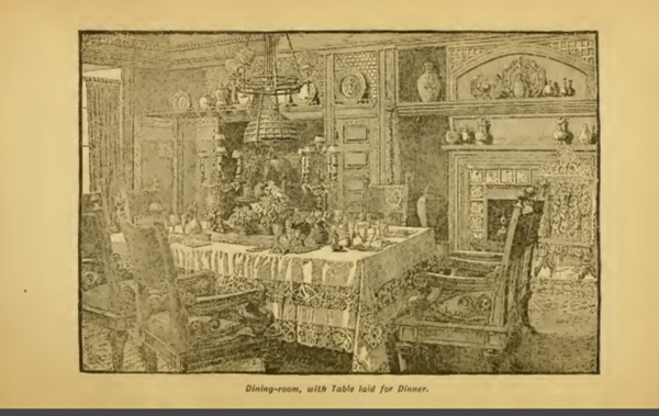 Victorian Dining Room Sketch 1880s