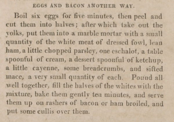 Recipe for eggs bacon art of cookery 1808