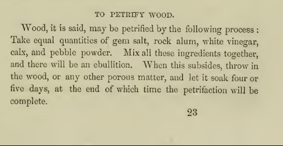 To petrify wood