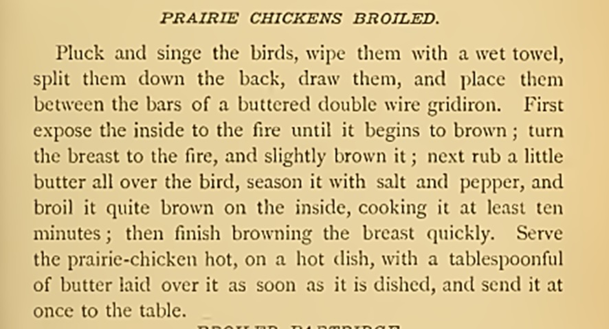 Recipe prairie chicken_miss corson 1886