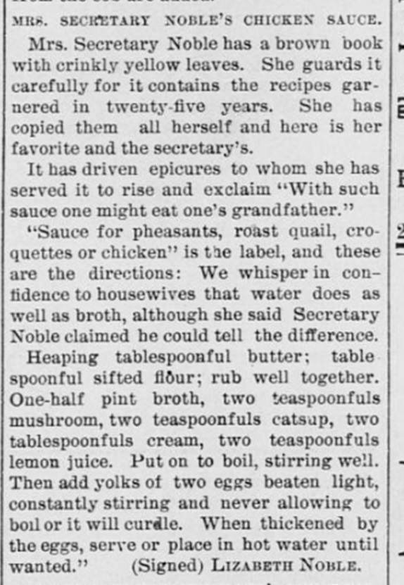 chicken sauce recipe 1880s