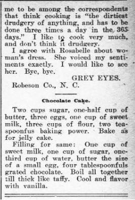 Chocolate Cake 1900s