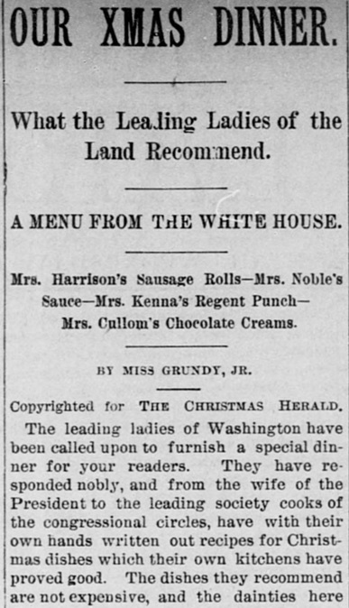 Whitehouse christmas dinner 1880s
