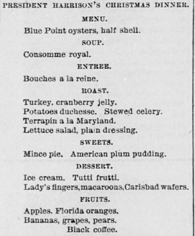Christmas menu for President Harrison 1880s