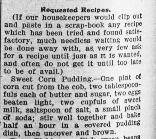 Corn Pudding Recipe 1900s