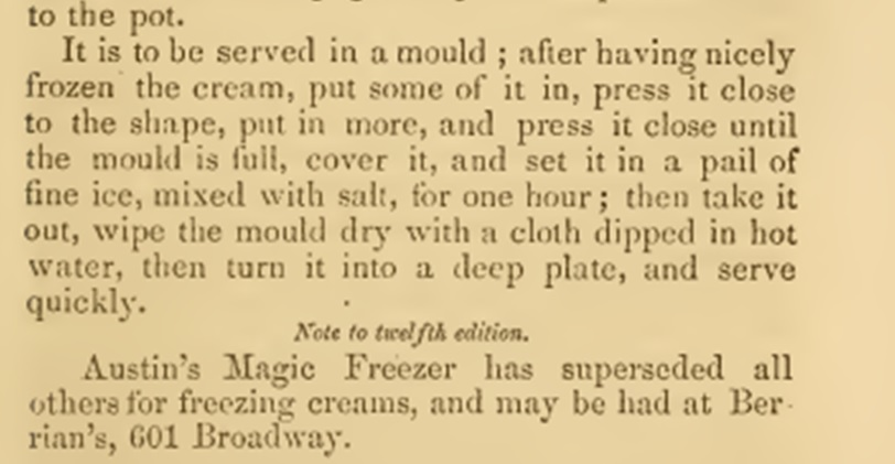 freezing ice cream 1860s