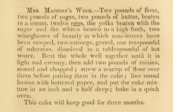Mrs Madison Whim Cake Recipe 1860s