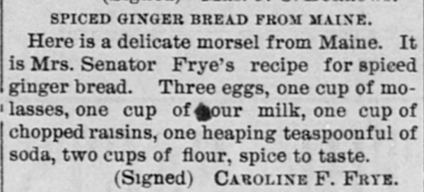 recipe spiced gingerbread 1880s