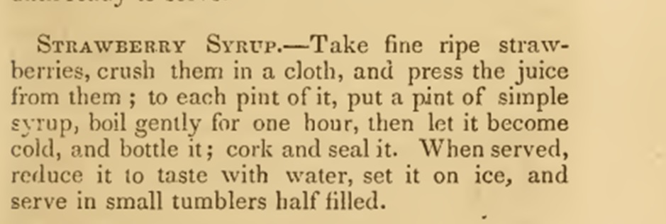 Strawberry syrup recipe 1860s