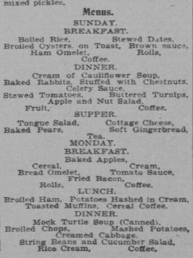 October Week menu 1900