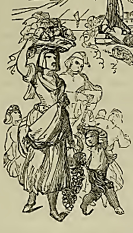 Woman carrying grapes sketch 1850s