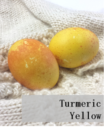 Eggs dyed with turmeric