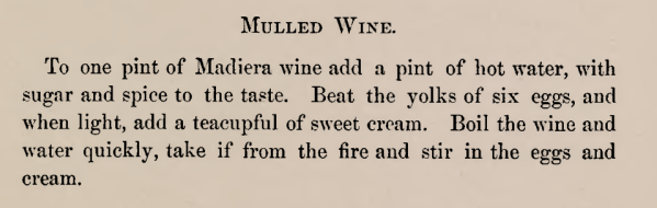 Recipe for Mulled Wine 1870s
