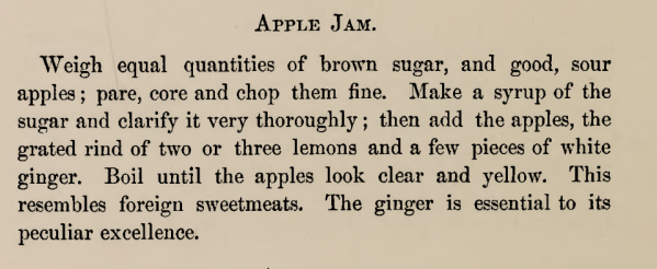 Recipe for Apple Jam 1870s