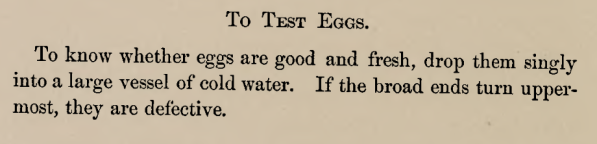 Directions for testing eggs 1870s