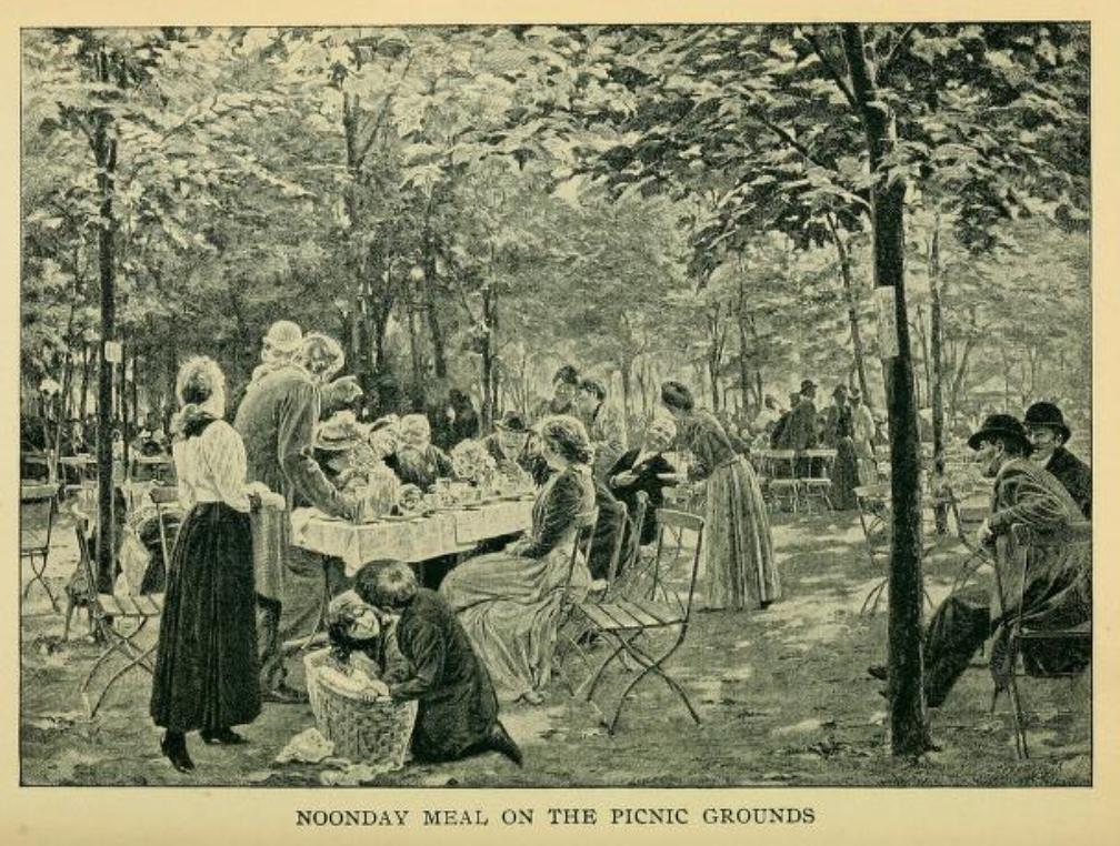 Garden picnic sketch 1890s, Montgomery Ward