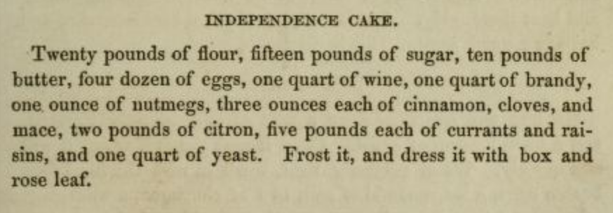 Independence Cake Recipe 1890s