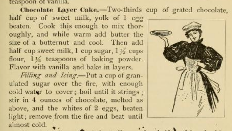 Chocolate Layer Cake Recipe 1890s