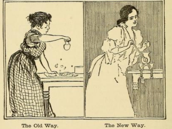 Victorian woman grinding meat sketch