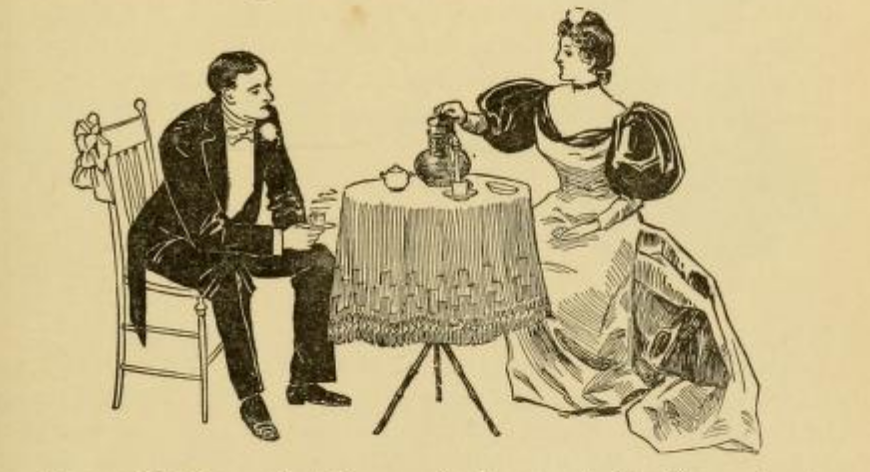 Victorian woman pouring coffee for man