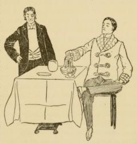 Butler and man drinking coffee