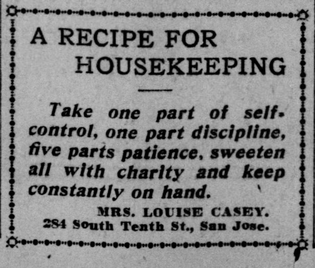 Housekeeping Recipe Quote 1900s