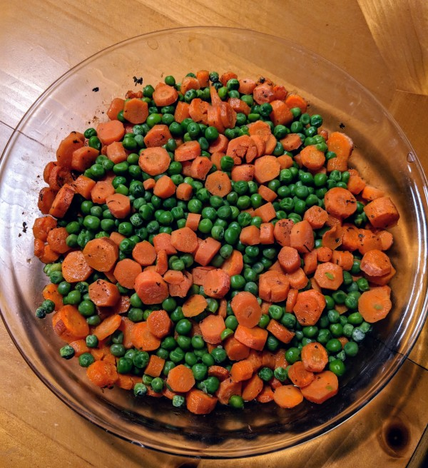 Carrots and peas roasted