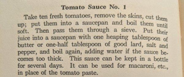 Tomato Sauce Recipe 1912