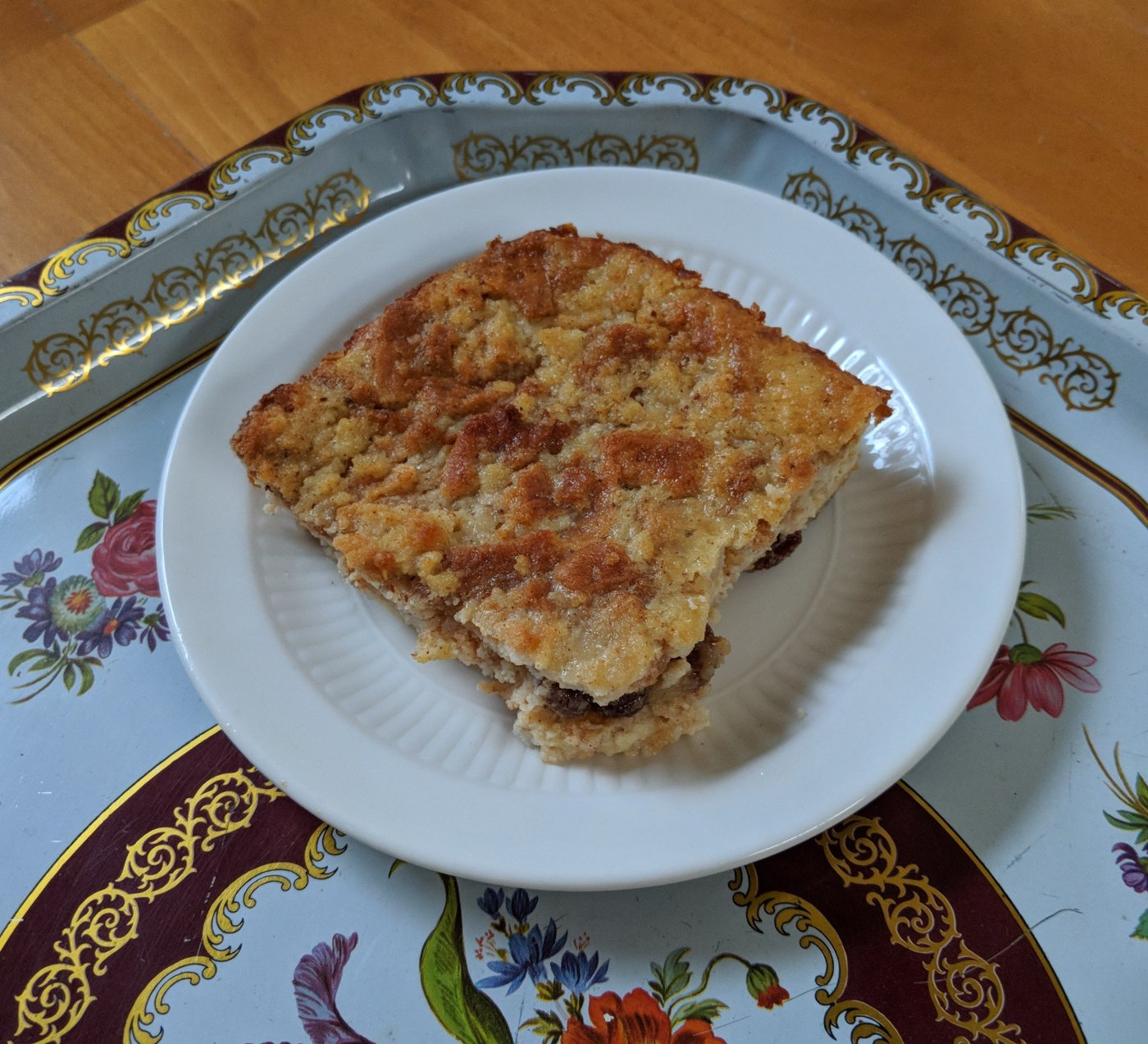 Slice of gluten free bread pudding