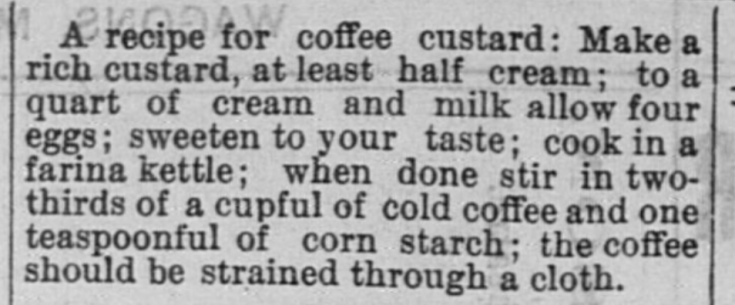 Coffee Custard Recipe 1885