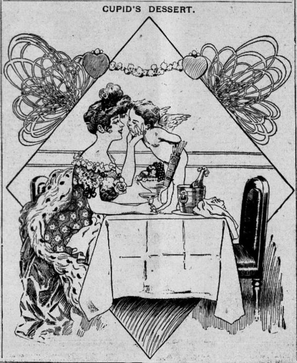 Woman kissing cupid 1905