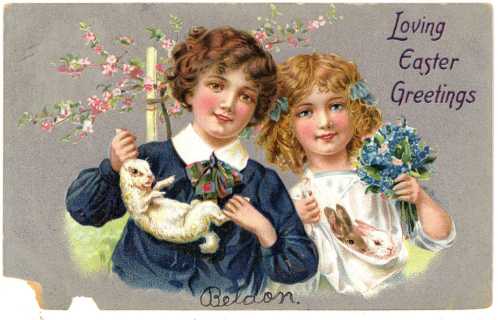 Victorian Easter Postcard with Children and rabbits
