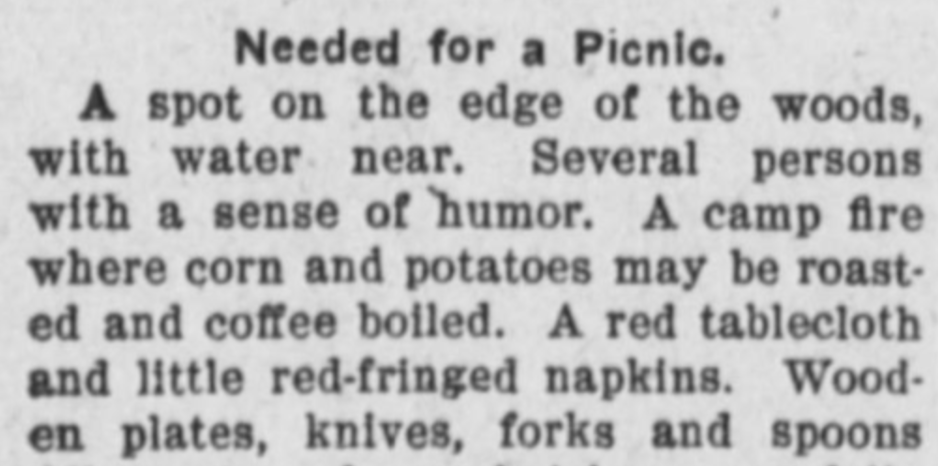 Picnic Items early 1900s
