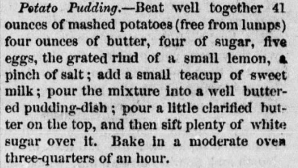 Potato Pudding Recipe 1870s
