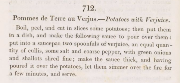 Potatoes with Verjuice 1820s
