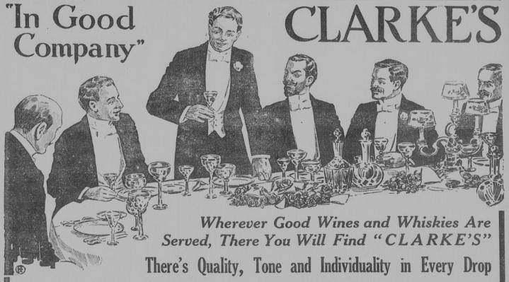 Clarke's wine advertisement