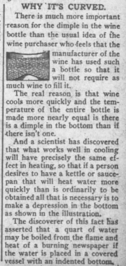 Why wine bottles have dimples 1912