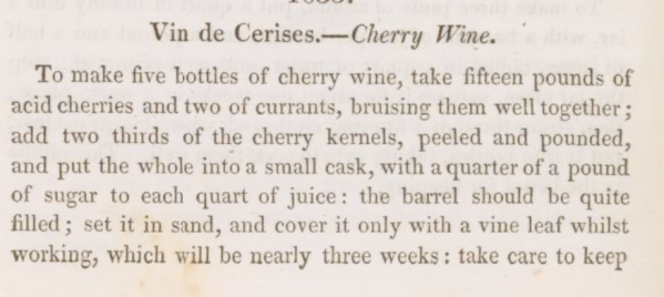 Cherry Wine Recipe 1820s