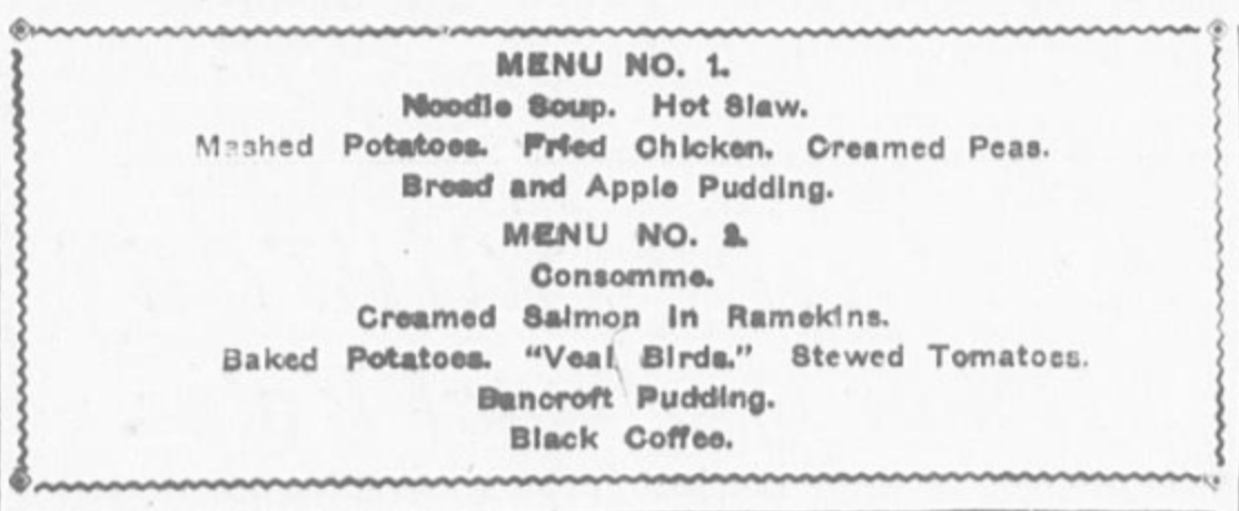 Cheap 1900s menus