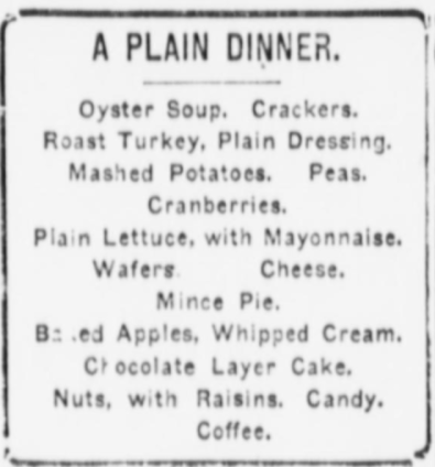 Plain Christmas Menu 1900s