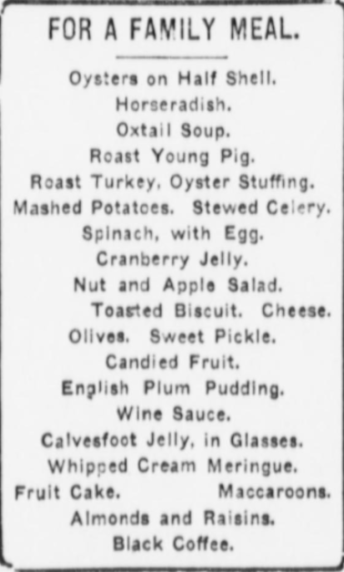 Christmas Menu for large family 1900s