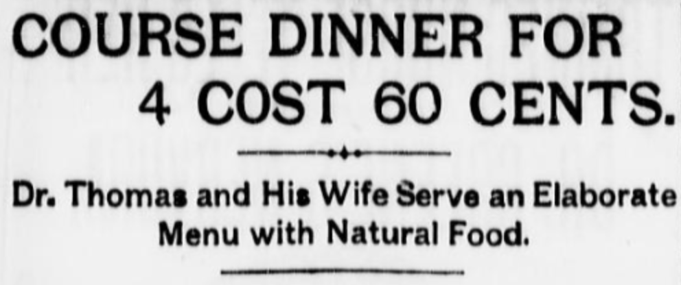 Cheap Dinners 1900